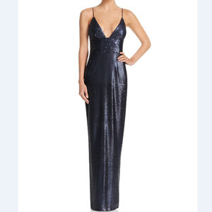 SALE Navy Sequin Spaghetti Strap Formal Gown